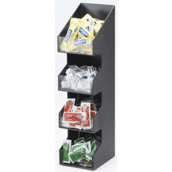 4-Tier Black Plastic Condiment Organizer