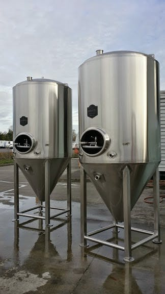 10 bbl Conical Fermenters jacketed and clad Fermenter sold by Pioneer Tank and Vessel