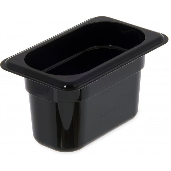 "4"" Ninth Size Black Plastic Food Pan"