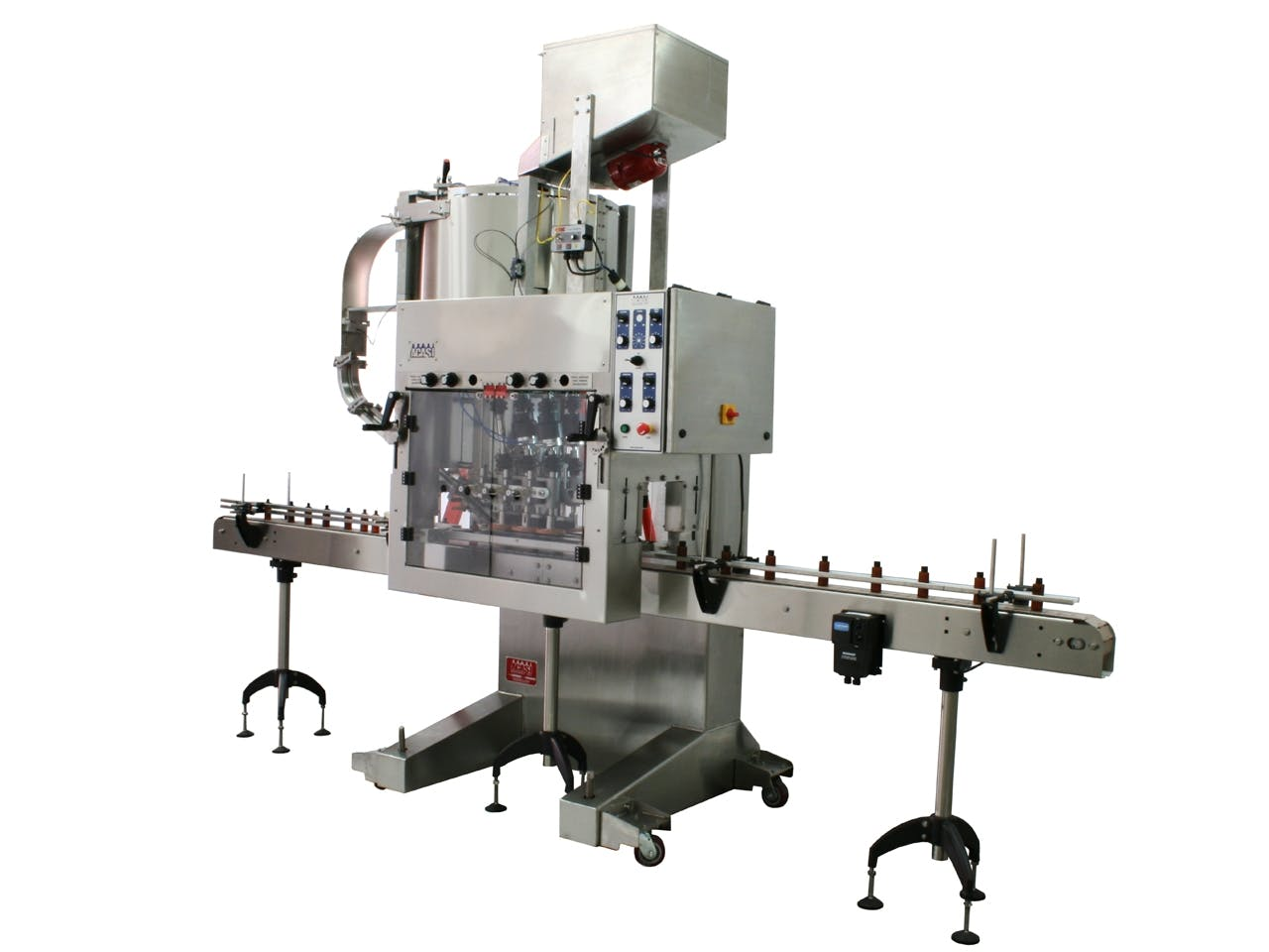 Automatic Inline Bottle Capping Machine Model CAI-X-Cent Bottle capper sold by ACASI Machinery