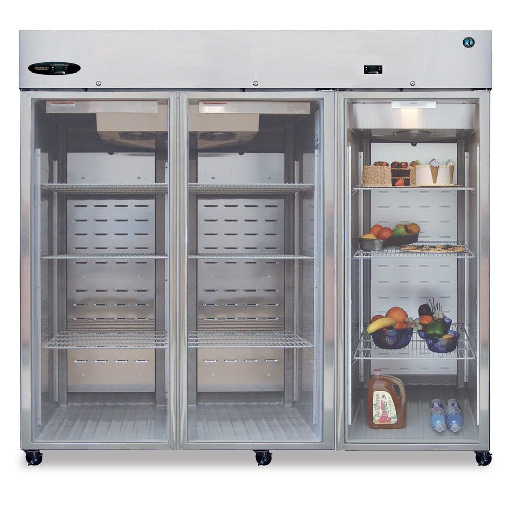 Hoshizaki CR3B-FGY Reach-In Commercial Series Refrigerator, Three-Section, Glass Door, 74.3 Cu Ft Commercial refrigerator sold by Mission Restaurant Supply