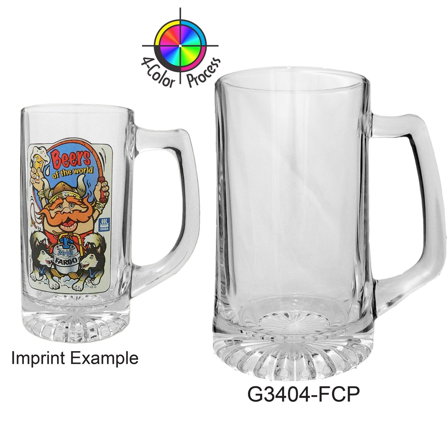 25 oz Clear Glass Sport Beer Mug (4 Color Process)