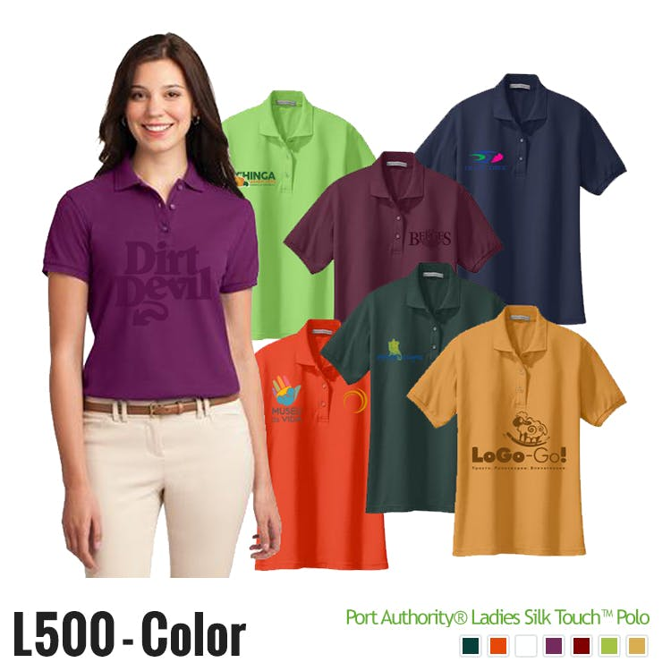 Printed Ladies' Port Authority® Silk Touch™ Polo Promotional shirt sold by Ink Splash Promos™, LLC