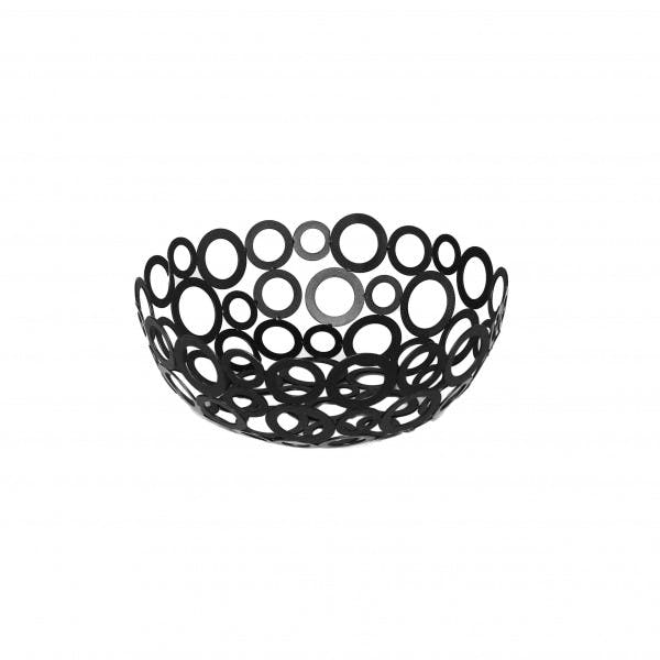 "8"" Round Black Wrought Iron Ring Design Serving Basket"