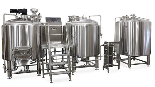 10 bbl 2 vessel Brewhouse with Hot Liquor Tank. Brewhouse sold by American Beer Equipment