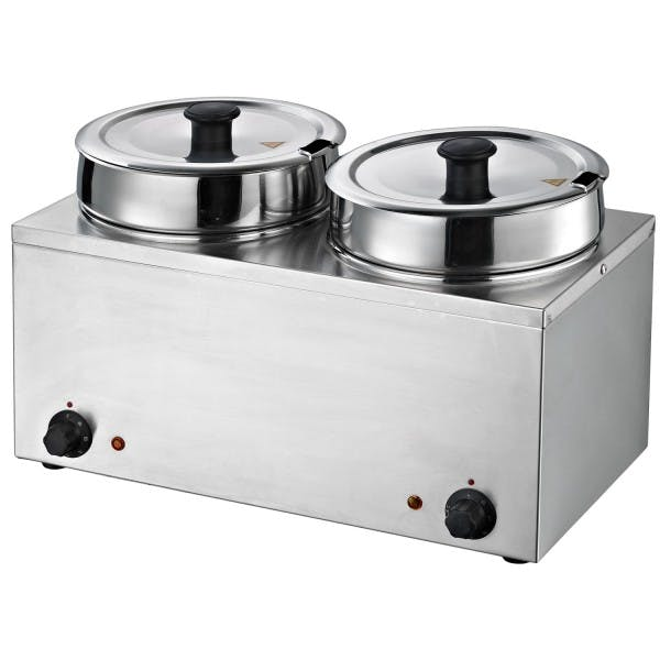 Dual 7 qt. Round Well Stainless Food Warmer w/ Inserts and Lids