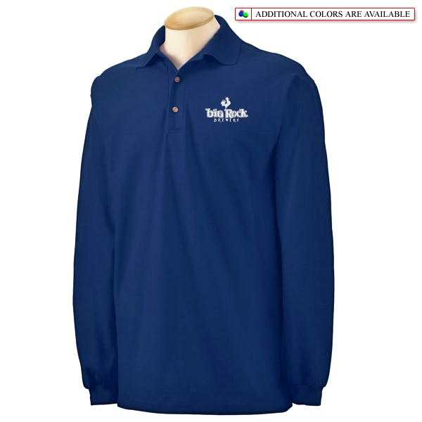 Gildan Cotton Pique Long-Sleeve Sport Shirt Promotional shirt sold by MicrobrewMarketing.com