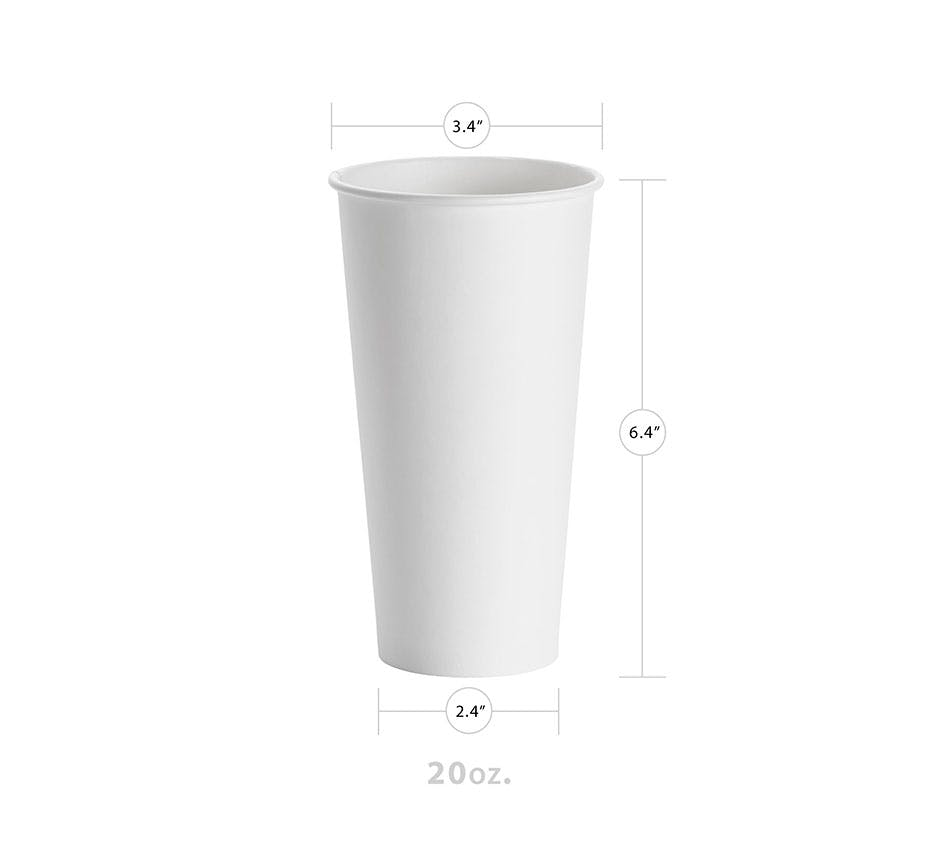 20oz White Hot Paper Cup Disposable cup sold by YESPAC Inc.