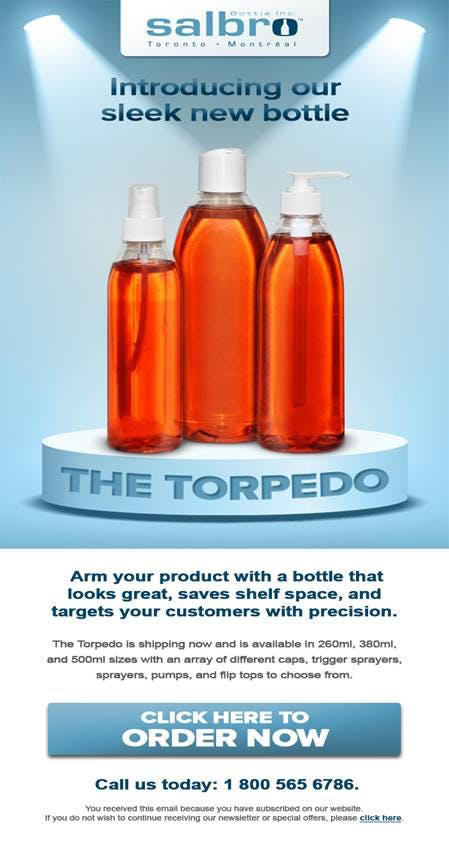 New Torpedo range  Plastic jar sold by Salbro Bottle