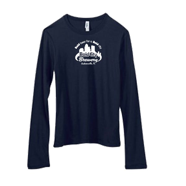 Bella Women's Long-Sleeve Crew Neck Jersey Promotional shirt sold by MicrobrewMarketing.com