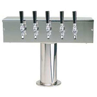 Stainless Steel Five Faucet T-Style Draft Tower - 4 Inch Column Draft beer tower sold by Beverage Factory