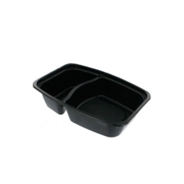 28 oz. Black Plastic 2 Compartment Reusable Food Container