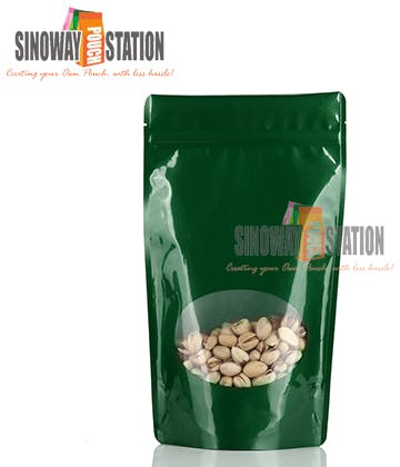 Poly Windowed Stand-up pouch sold by sinowaypouchstation.com,LLC