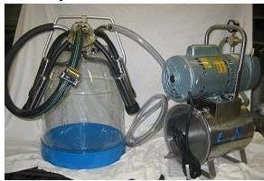 3/4 HP Mini-Milker milking machine for COWS with ONE 8 gal plastic bucket assembly