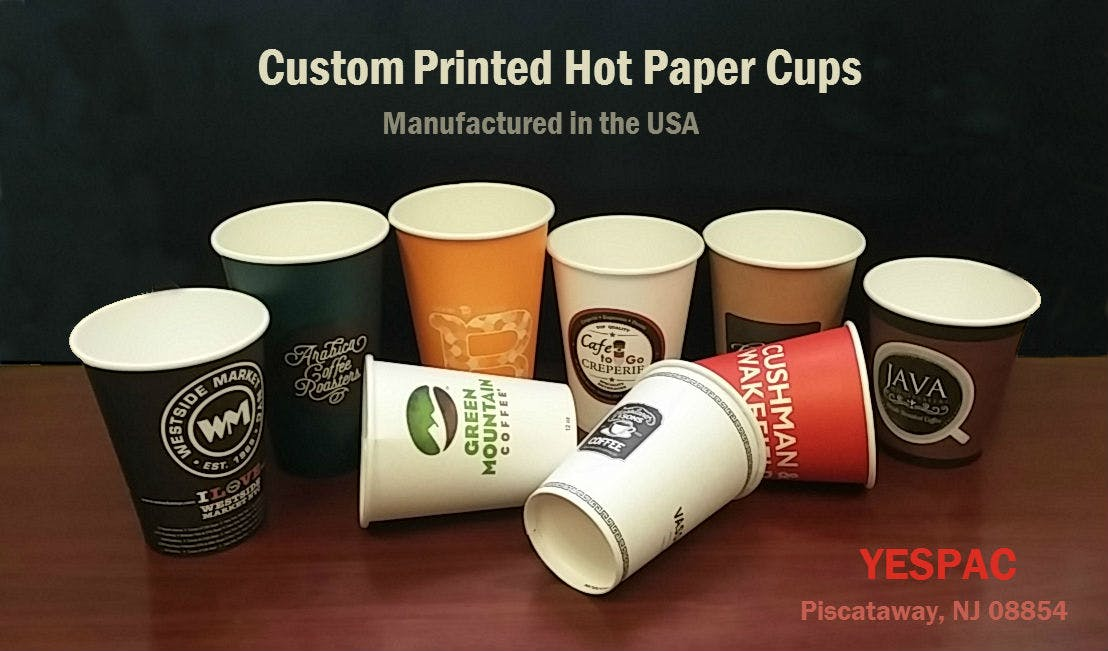 Custom printed paper cups. Disposable cup sold by YESPAC Inc.
