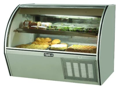 "Leader NRCD60SC - 60"" Curved Glass Deli Display Case - Counter Height Food display case sold by Elite Restaurant Equipment"