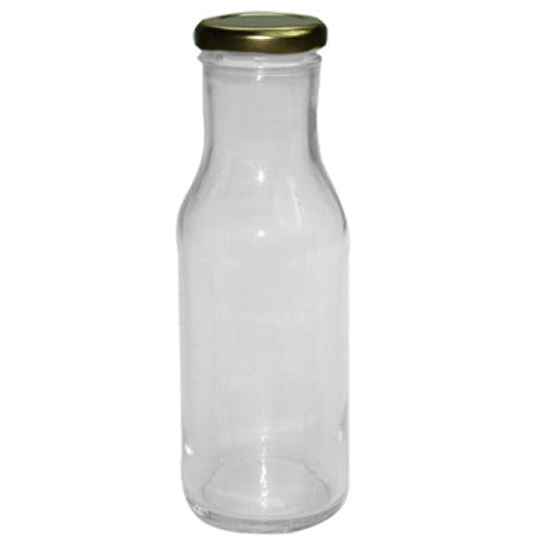 10 oz (300 mL) Clear Glass Decanters (Gold Lug Cap) Glass bottle sold by Freund Container & Supply