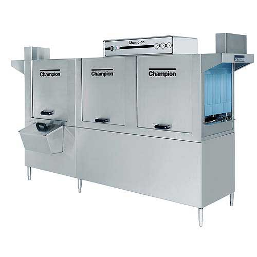 Champion - 100 HDPW 277 Rack/Hr High Temp Conveyor Dishwasher w/ Prewash Commercial dishwasher sold by Food Service Warehouse