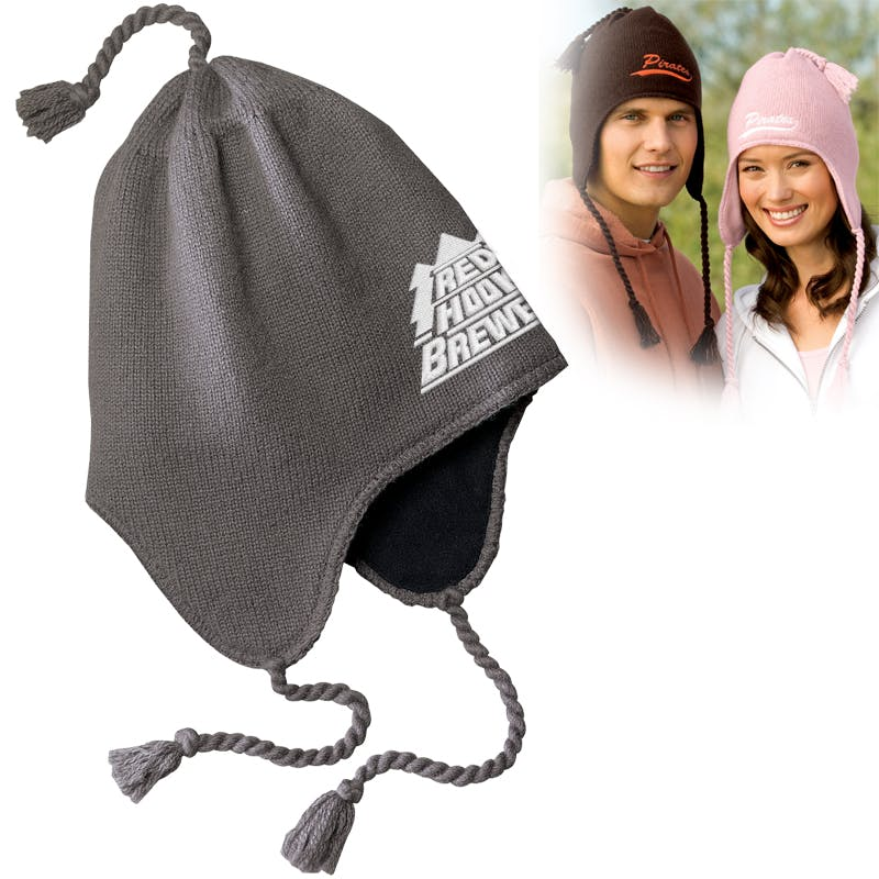 Knit Hat with Earflaps Promotional cap sold by MicrobrewMarketing.com