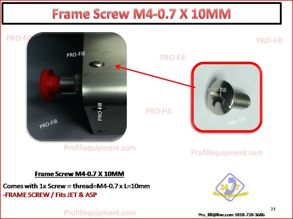 FRAME ASSEMBLY SCREW M4-0.7 X 10MM Bottle filler parts sold by Pro Fill Equipment