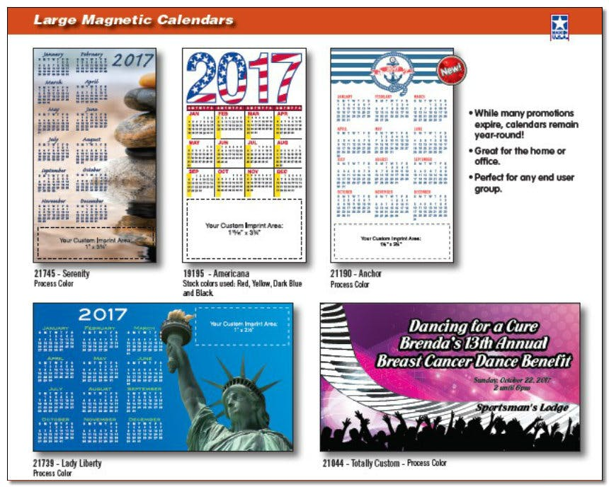 Large Magnetic Calendars Continued - Custom Calendars - sold by Worldwide Ticket and Label