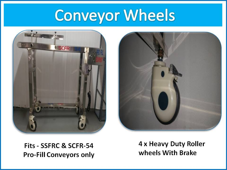 Optional Conveyor Wheel(Not Included in purchase) - Conveyor SSCFR-58, Stainless Steel Industrial , Food Grade Belt - sold by Pro Fill Equipment