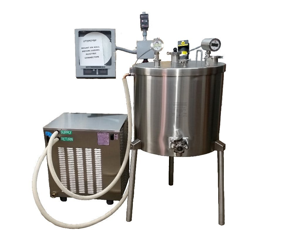 Chiller on ground to left of 30 gal Vat Pasteurizer - Chiller for the Vat Pasteurizer - sold by Homesteader's Supply
