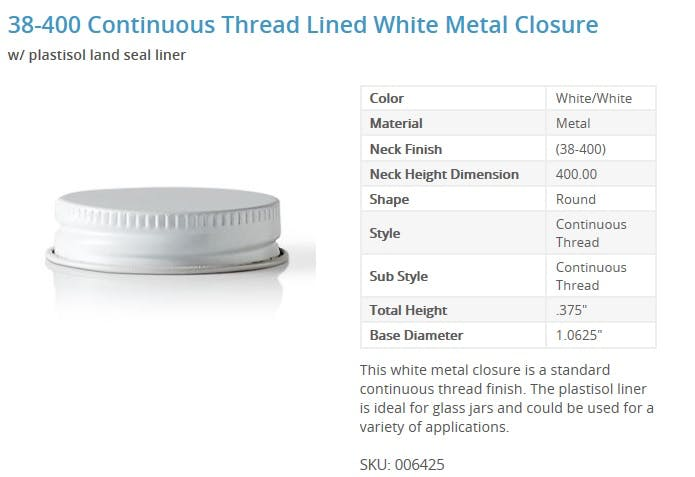 38-400 Continuous Thread Lined White Metal Closure Glass bottle sold by Packaging Options Direct