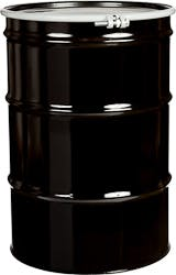 55 Gallon Black Open Head Lined Steel Drum w/ Cover and Bolt Ring, UN Rated Drum sold by The Cary Company