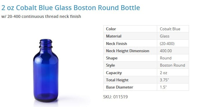 2 oz Cobalt Blue Glass Boston Round Bottle E-liquid bottle sold by Packaging Options Direct