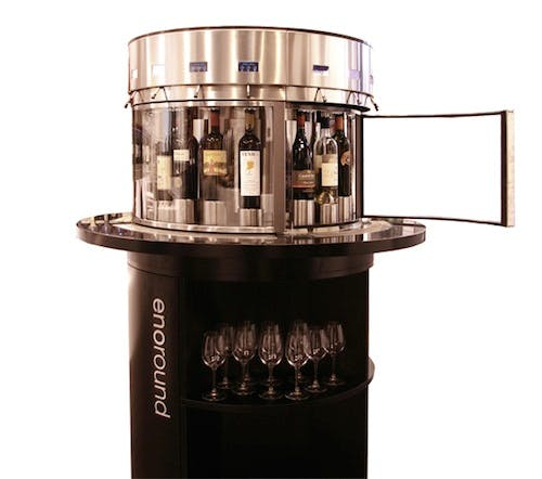 Enoround®  ELITE 16-bottle Circular Kiosk  Wine bar sold by Enomatic Wine Serving Systems