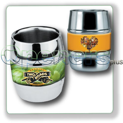 Barrel Mug Stainless steel mug sold by Openers Plus