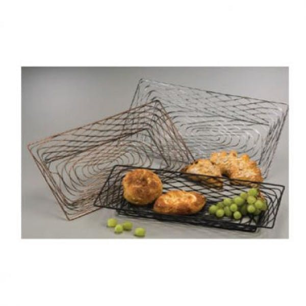 "18.25"" x 9.25"" Chrome-Finished Rectangular Birdnest Metal Basket"