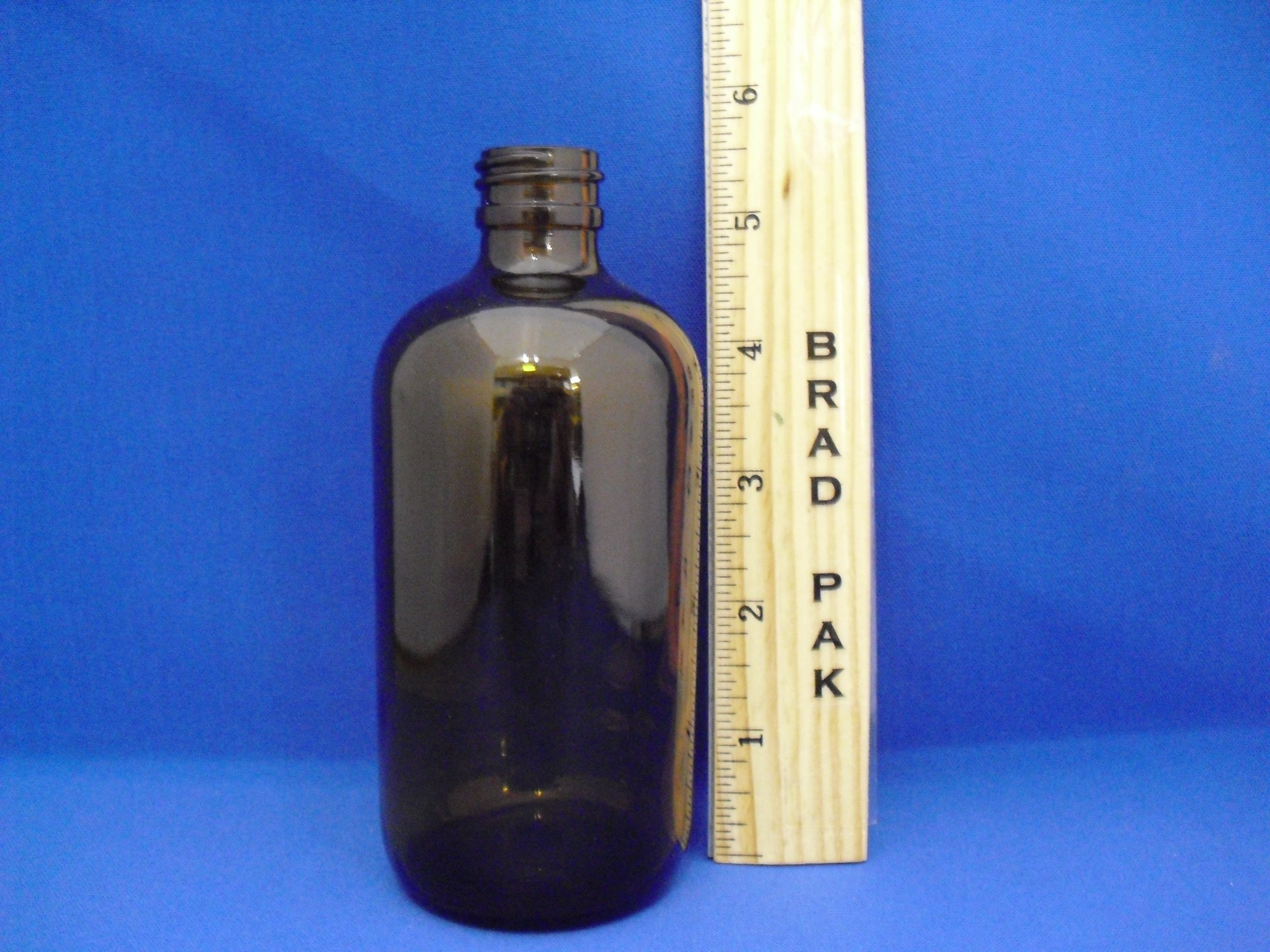 4 OZ AMBER BOSTON ROUND BOTTLE 22-400 Glass bottle sold by Brad-Pak