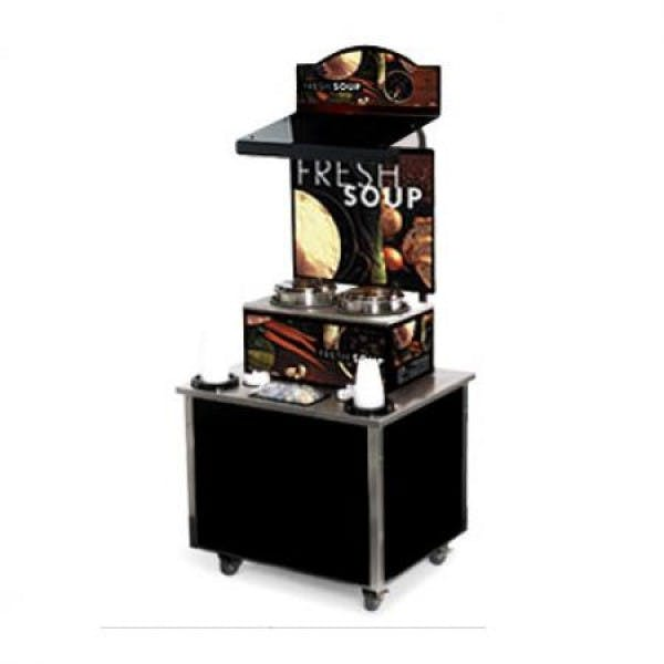Cayenne® Free Standing Soup Merchandiser Kiosk w/ Tuscan graphics - V-VOL3702802