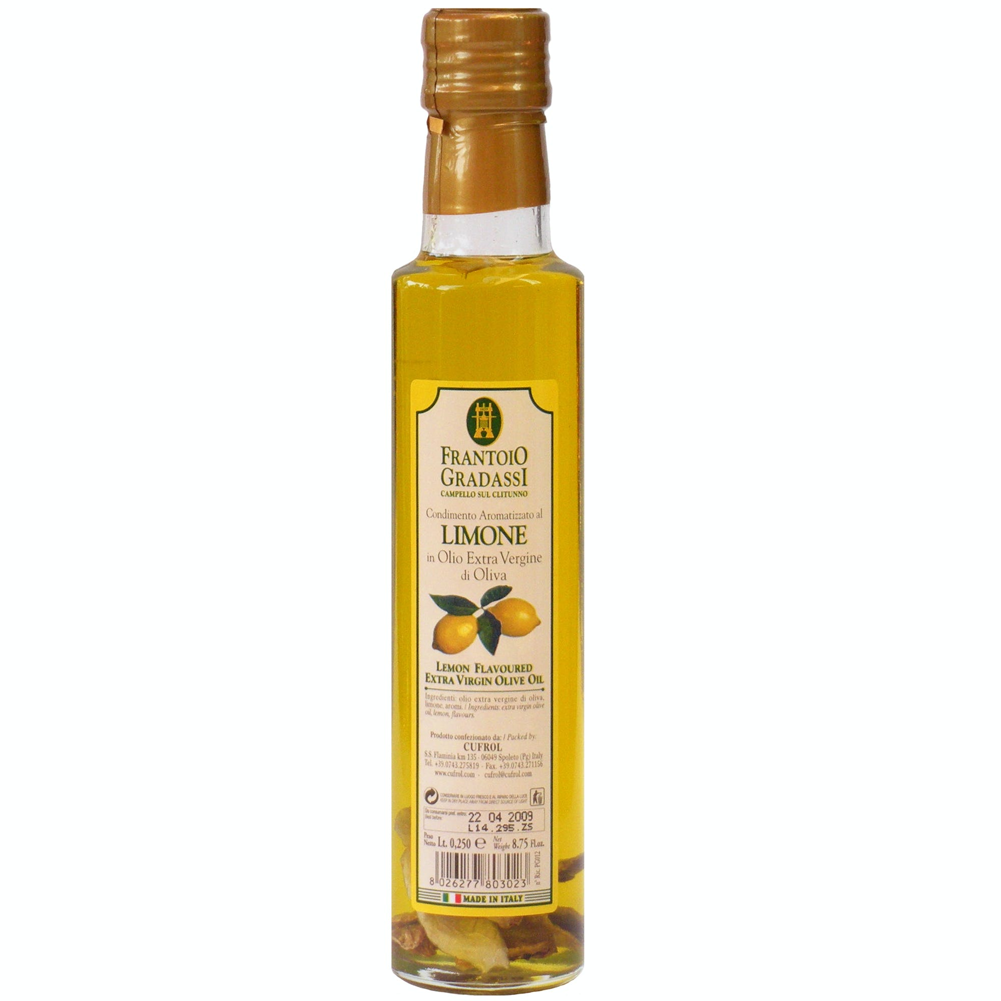 Italian Natural Lemon Infused Extra Virgin Olive Oil Dressing From Cufrol, 8.5 Ounces Infused oil sold by M5 Corporation
