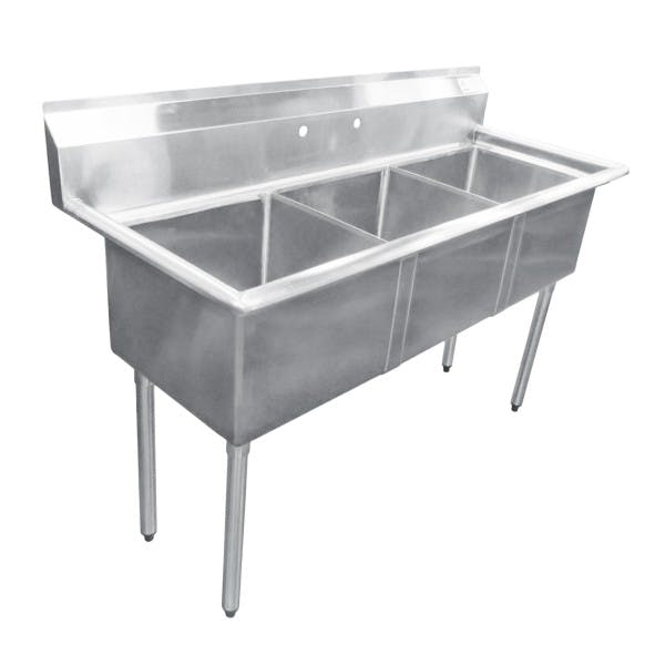 "59"" 3 Compartment Stainless Commercial Sink - ADVFE-3-1812-C"
