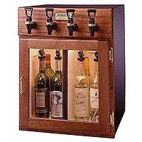 WineKeeper Napa 4 Bottle 2 Red 2 White Wine Dispenser Preservation Unit - Mahogany Model:7755 Wine pub system sold by Beverage Factory