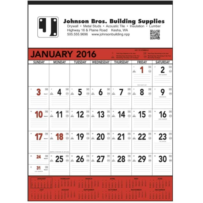 Norwood Promotional Products :: Product :: Red & Black Contractor's Memo (13-sheet) Custom calendar sold by Distrimatics, USA