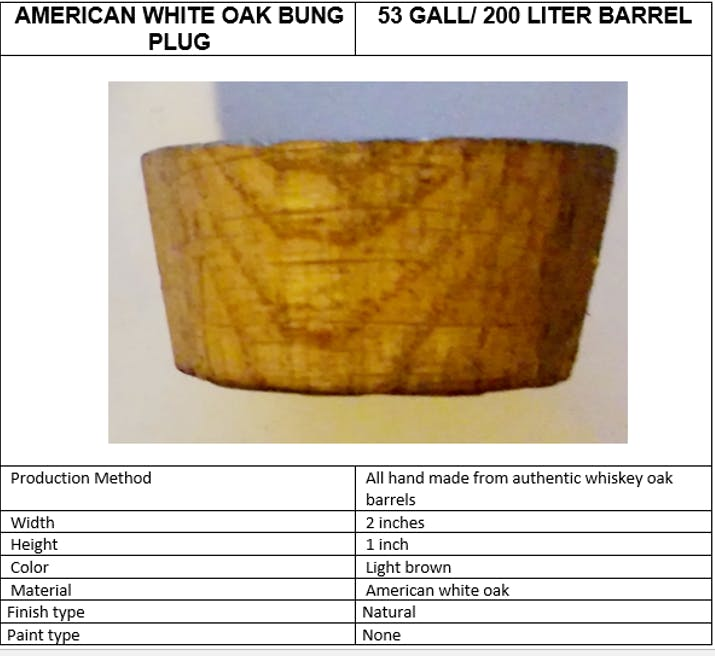 100% oak bungs Barrel sold by The American Barrels