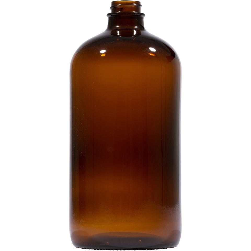 32 oz Round Glass Amber Boston Round Bottle - sold by Packaging Options Direct