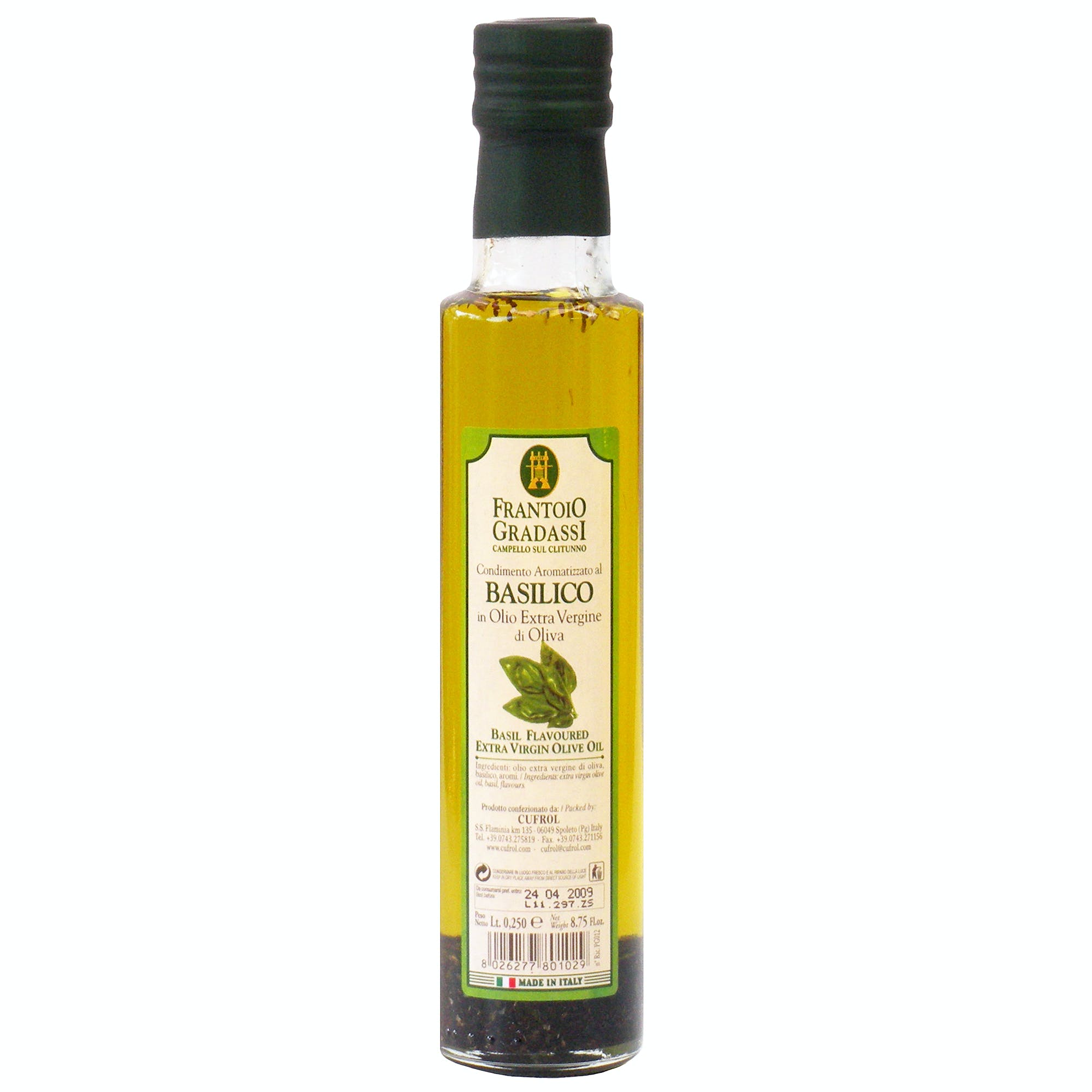 Italian Natural Basil Infused Extra Virgin Olive Oil Dressing From Cufrol, 8.5 Ounces Infused oil sold by M5 Corporation