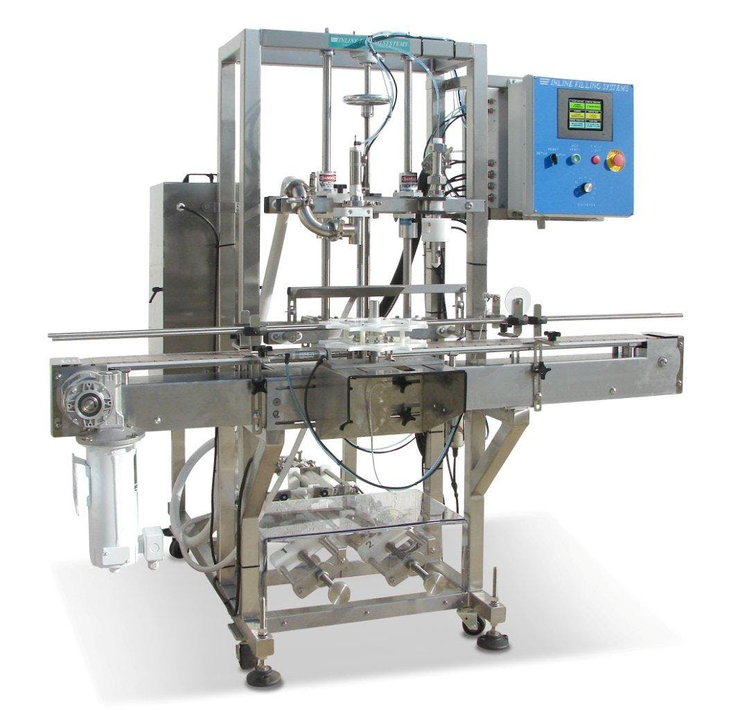 Piston Filling Machine Bottle filler sold by Inline Filling Systems