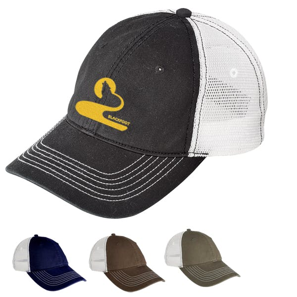 District Threads Mesh Back Cap Promotional cap sold by MicrobrewMarketing.com