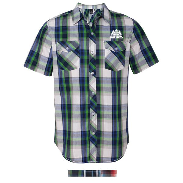 Burnside-Plaid Short Sleeve Shirt Promotional shirt sold by MicrobrewMarketing.com