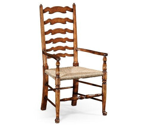Country Ladder Back Dining Arm Chair for Dining Space Sulfur dioxide sold by Bernadette Livingston Furniture