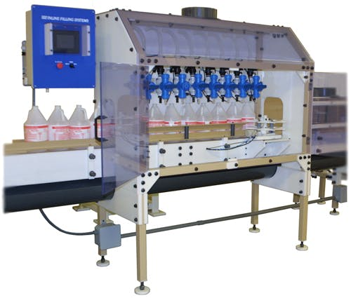 Time Gravity Filling Machine Bottle filler sold by Inline Filling Systems