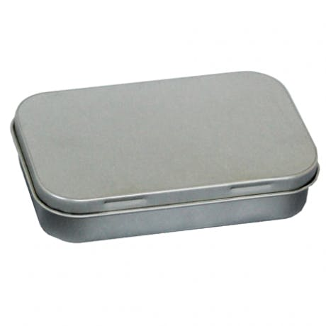 hinged-rectangular-medium-tin 3 11-16 x 2 5-16 x 3-4   432 per case Metal tins sold by Inmark Packaging