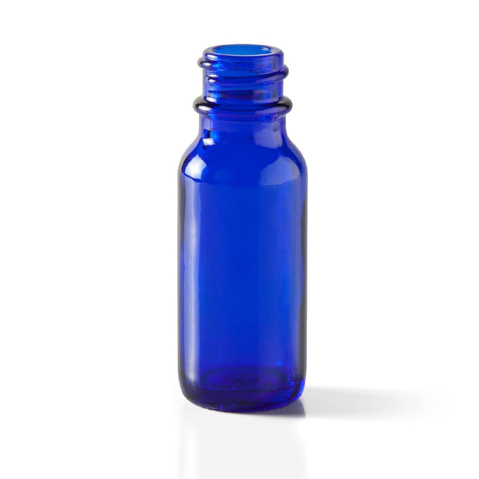 0.5 oz Cobalt Blue Glass Boston Round Bottle Glass bottle sold by Packaging Options Direct