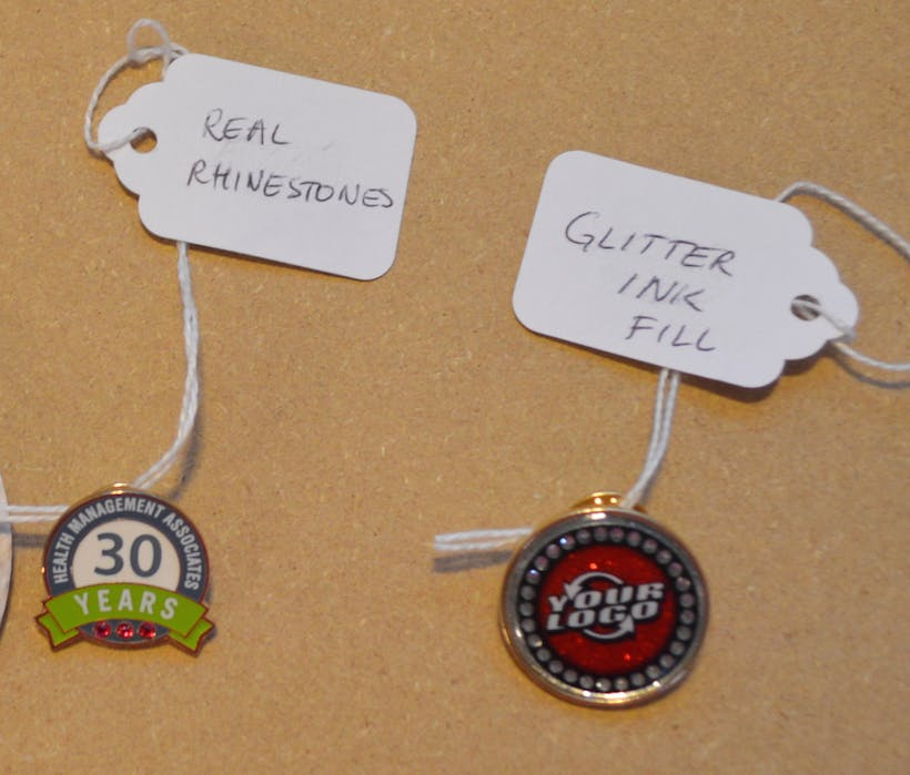 custom glitter pins / rhinestone pins Lapel pin sold by Luscan Group